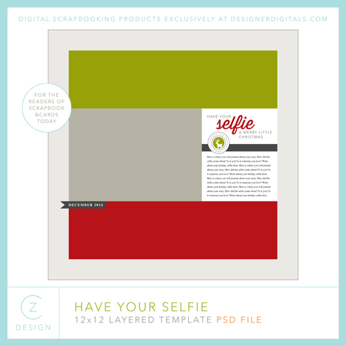 Selfie Layout Digital Template by Cathy Zielske