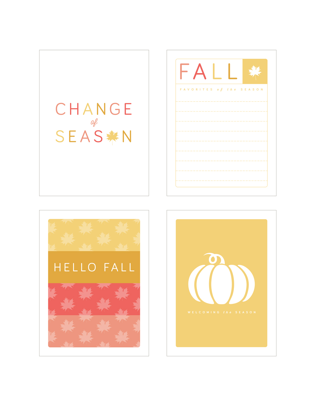 Fall Blessings 2014 Printable Cards