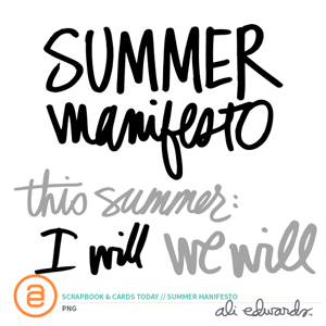 Summer Manifesto Printables by Ali Edwards