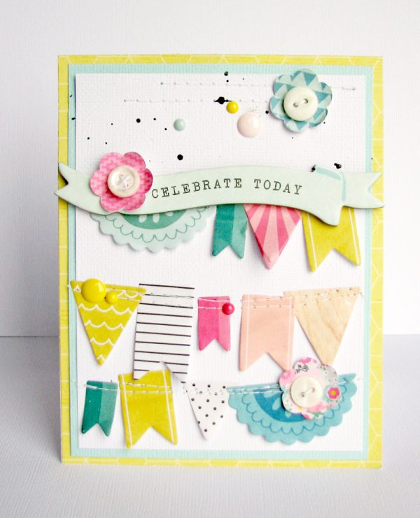 Celebrate Today card by Nicole Nowosad for Scrapbook & Cards Today magazine