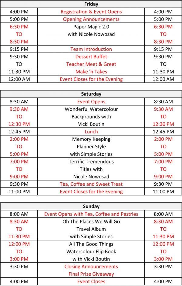 Moncton 2018 Schedule