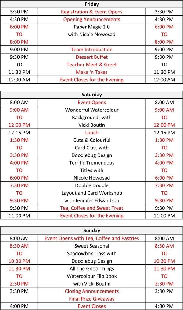 Crop & Create Calgary 2018 Schedule