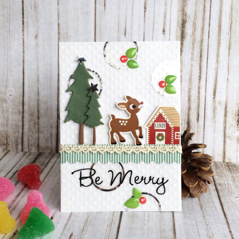 Be Merry Christmas card by Virginia Nebel for Scrapbook & Cards Today
