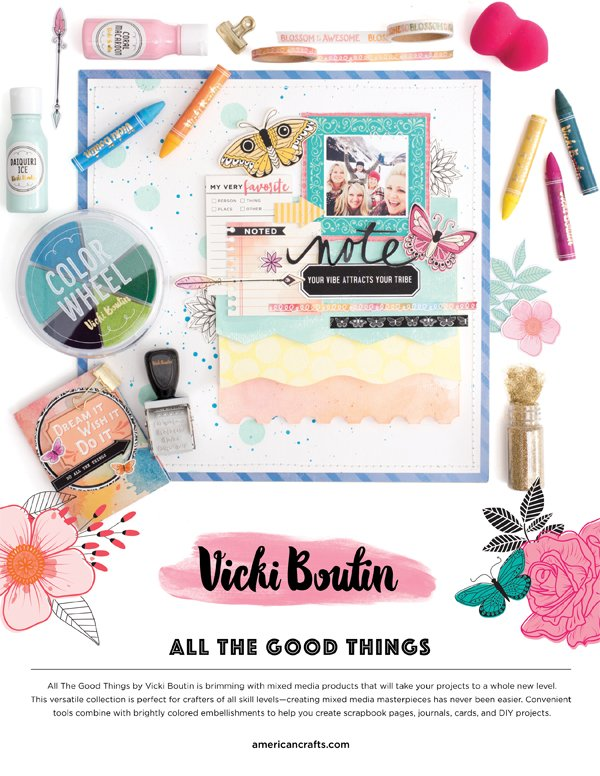 American Crafts - Vicki Boutin Ad for Scrapbook & Cards Today Winter 2017 issue