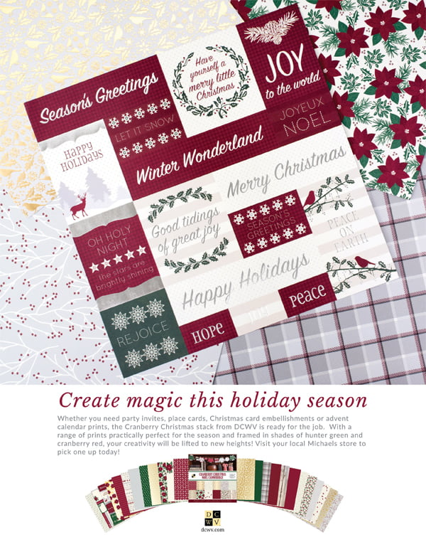 DCWV Ad for Scrapbook & Cards Today Winter 2017 issue