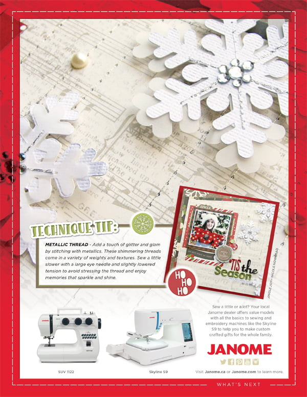Janome Ad for Scrapbook & Cards Today Winter 2017 issue