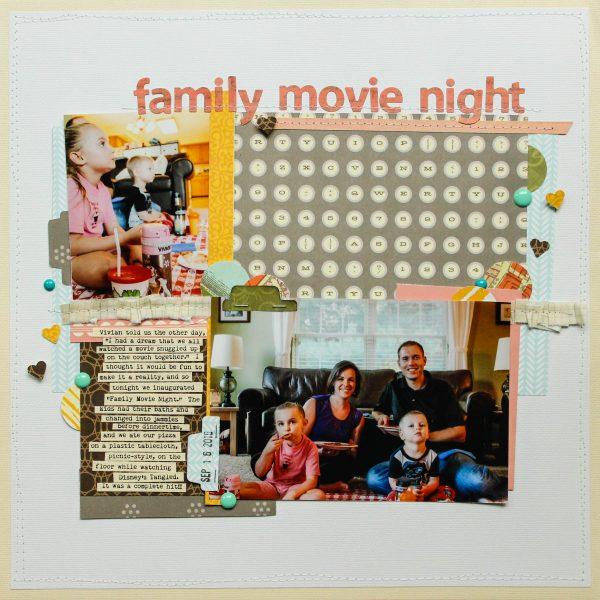 """family movie night"" scrapbook layout by Natalie Strand"