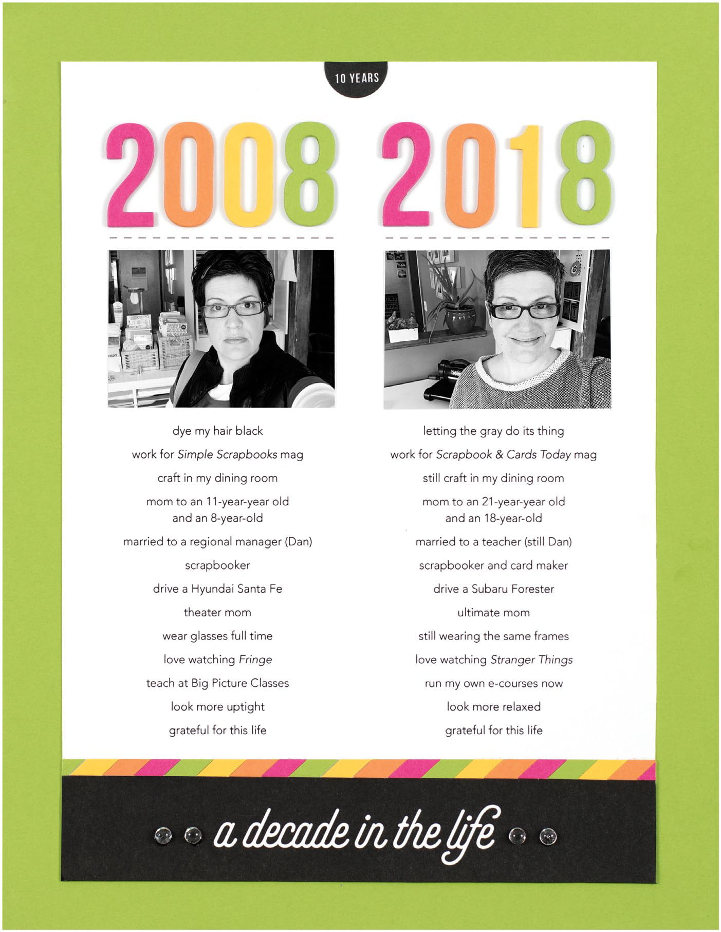 A Decade in the Life by Cathy Zielske - Scrapbook & Cards Today Spring 2018