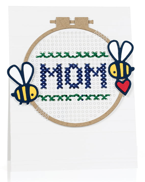 Cross-stitch Mom card by Jill Dewey Hawkins - Scrapbook & Cards Today Spring 2018