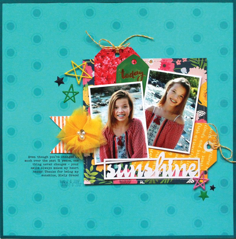 SCT Delivered - Picnics & Popsicles Scrapbook Kit - Sunshine Layout by Lisa Dickinson