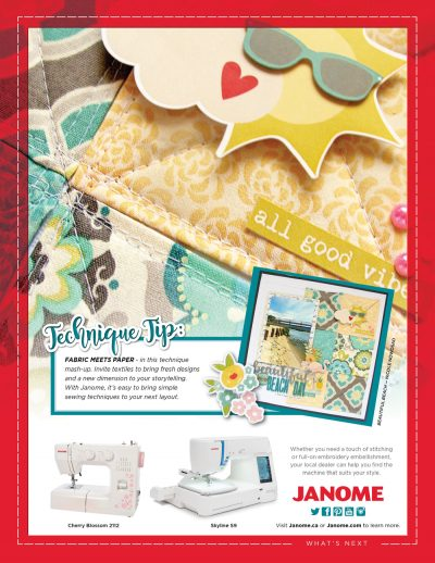 Janome Ad - Scrapbook & Cards Today Summer 2018 Issue