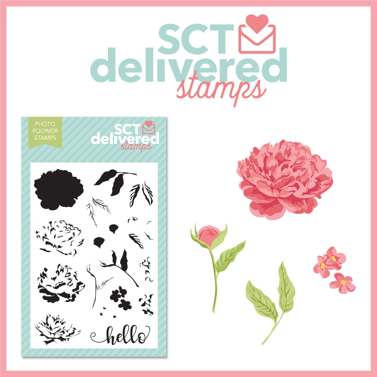 SCT Delivered Stamps - Peonies