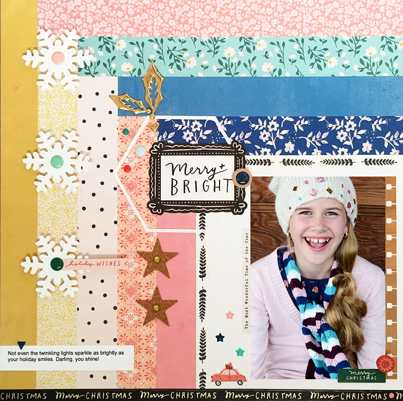 Merry & Bright Layout by Sheri Reguly for Scrapbook & Cards Today Magazine