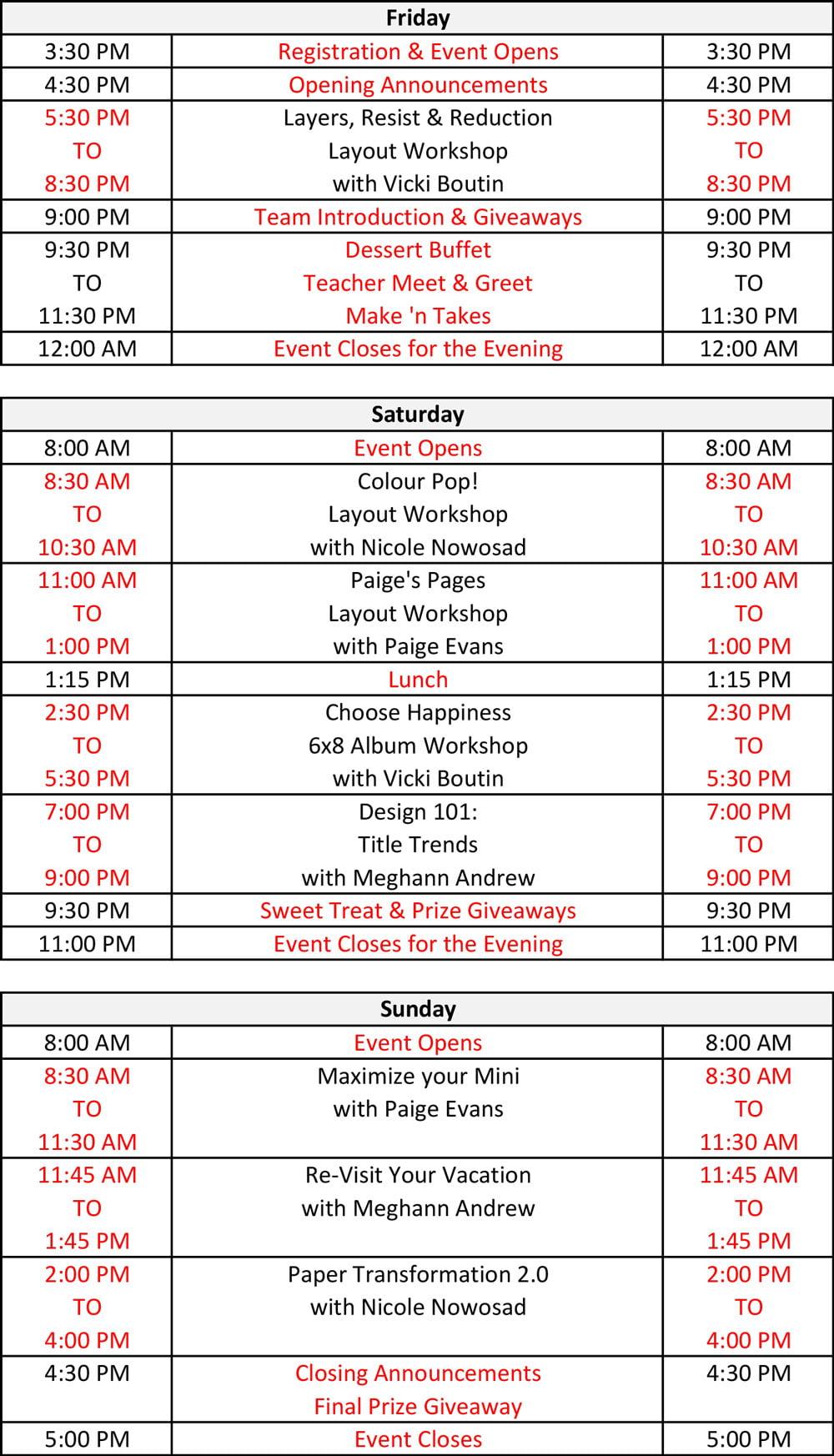 Crop & Create - Winnipeg 2019 schedule