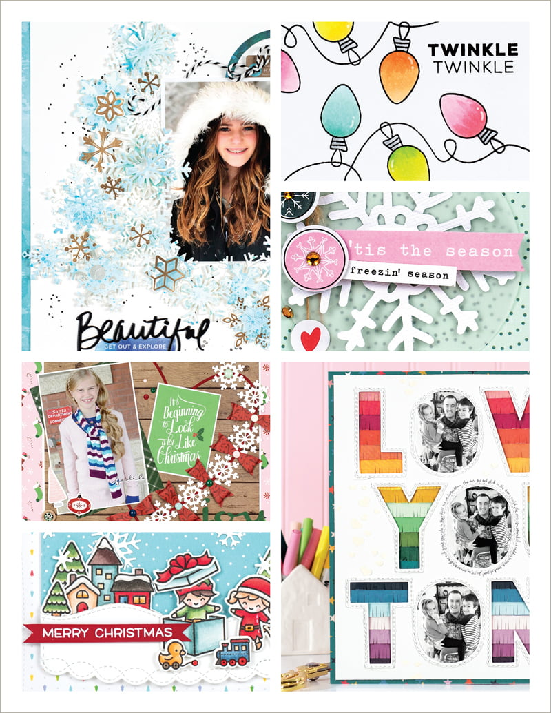 Scrapbook & Cards Today Winter 2018 Issue collage