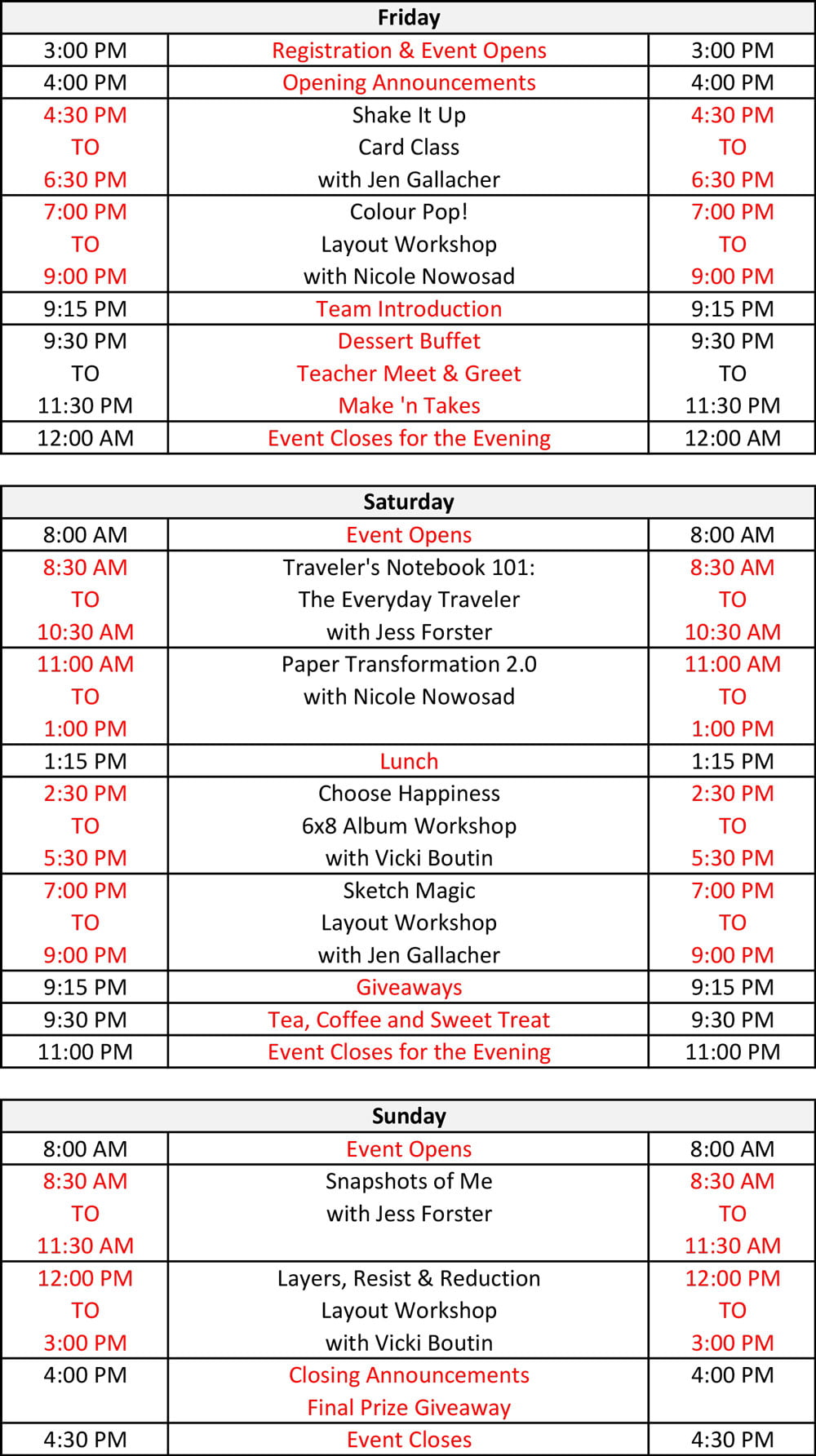 Crop & Create Calgary 2019 Schedule