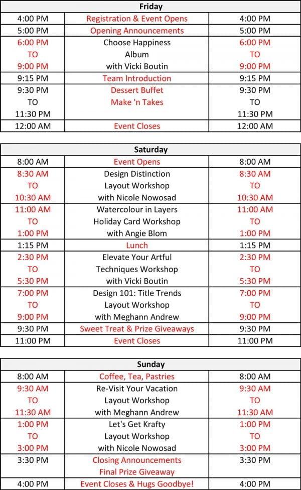 Crop & Create Saskatoon 2019 schedule
