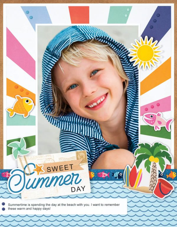 Scrapbook & Cards Today - Summer 2019 - Sweet Summer Day layout by Sheri Reguly