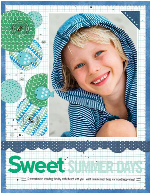 Scrapbook & Cards Today - Summer 2019 - Sweet Summer Day layout by Laura Vegas