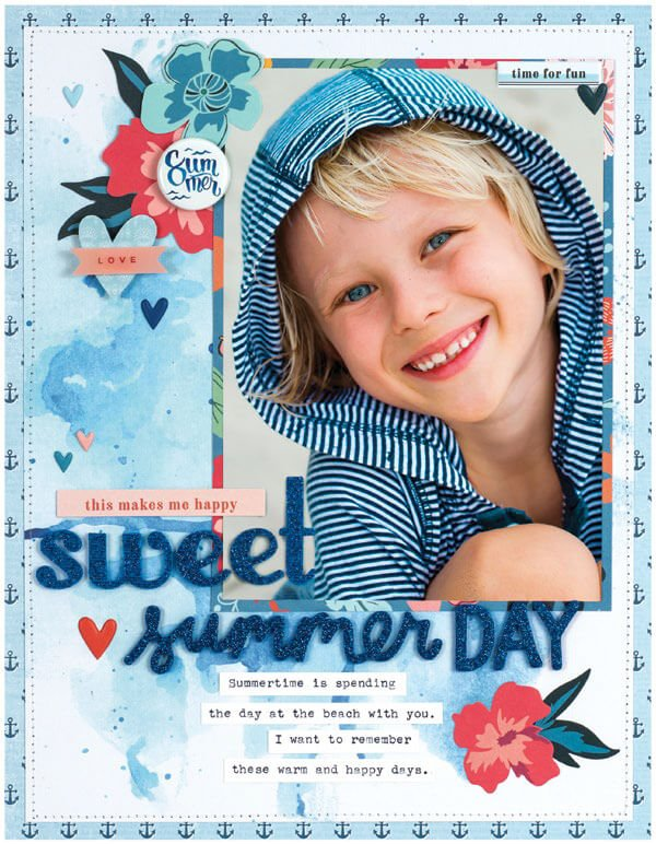 Scrapbook & Cards Today - Summer 2019 - Sweet Summer Day layout by Michelle Gallant