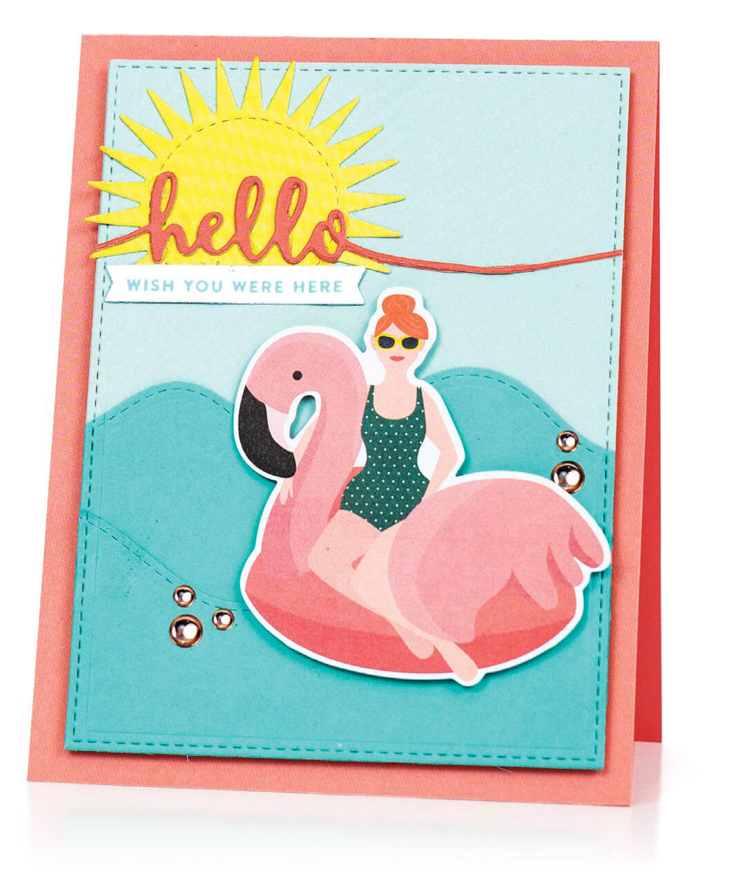 Scrapbook & Cards Today - Summer 2019 - Hello Wish You Were Here card by Susan R Opel
