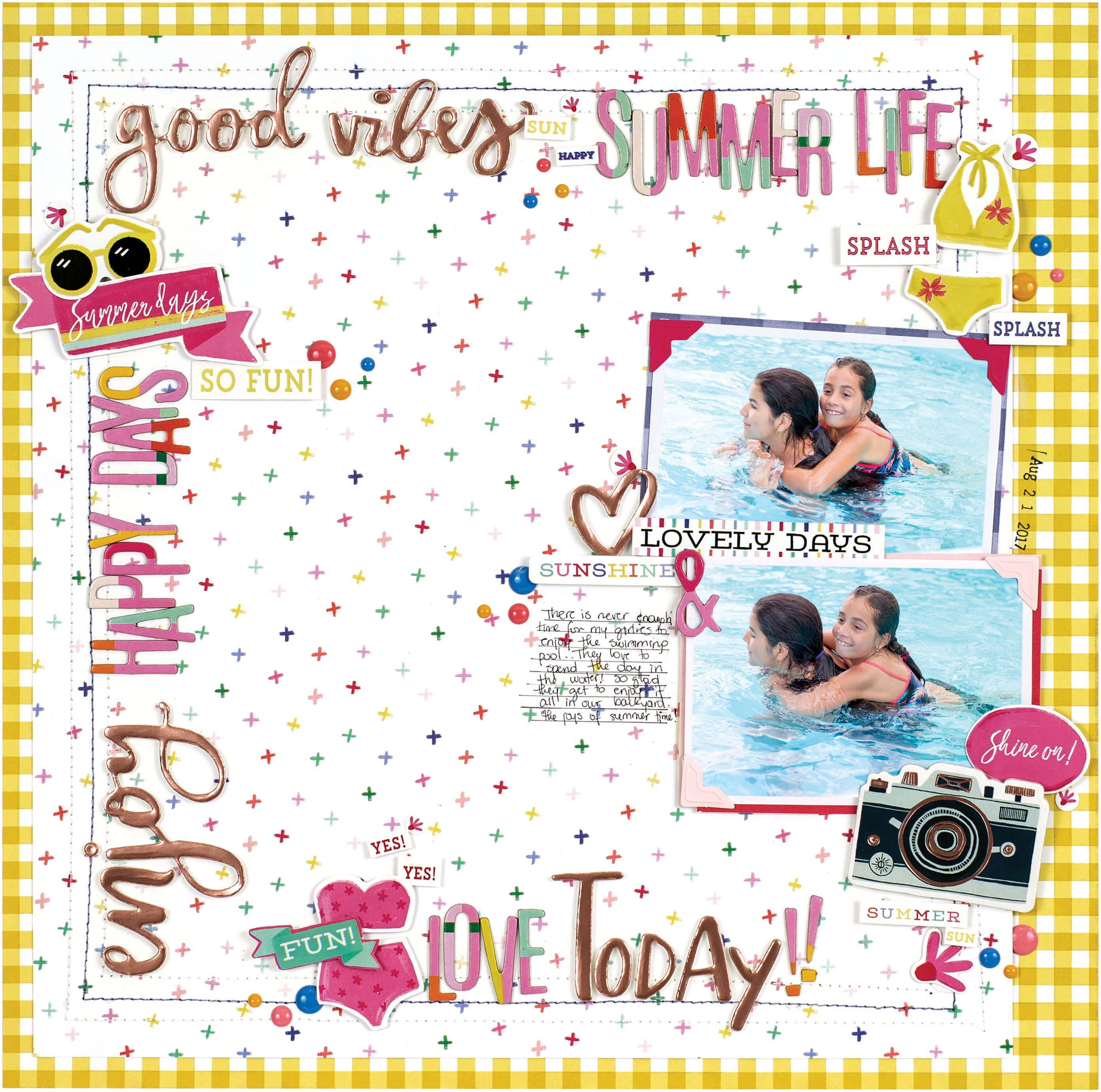 Scrapbook & Cards Today - Summer 2019 - Good Vibes layout by Nathalie DeSousa