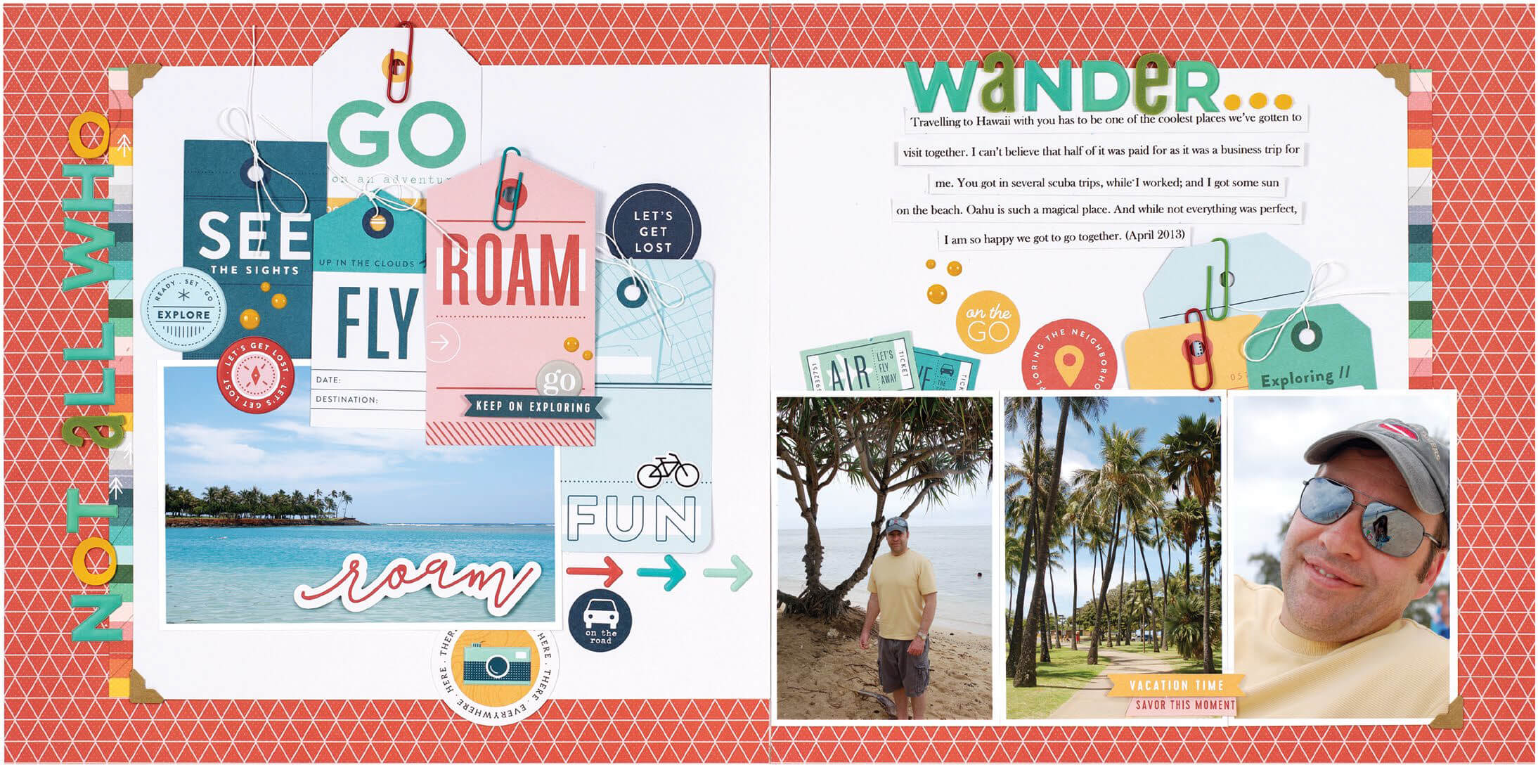Scrapbook & Cards Today - Summer 2019 - Not All Who Wander layout by Jennifer S Gallacher