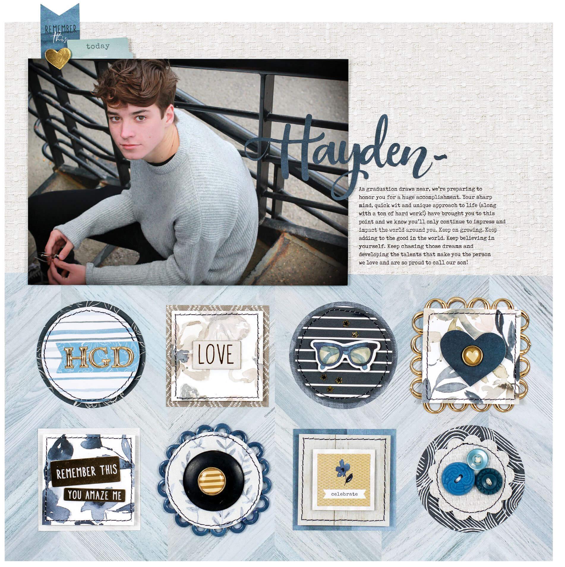 Scrapbook & Cards Today - Summer 2019 - Hayden layout by Lisa Dickinson
