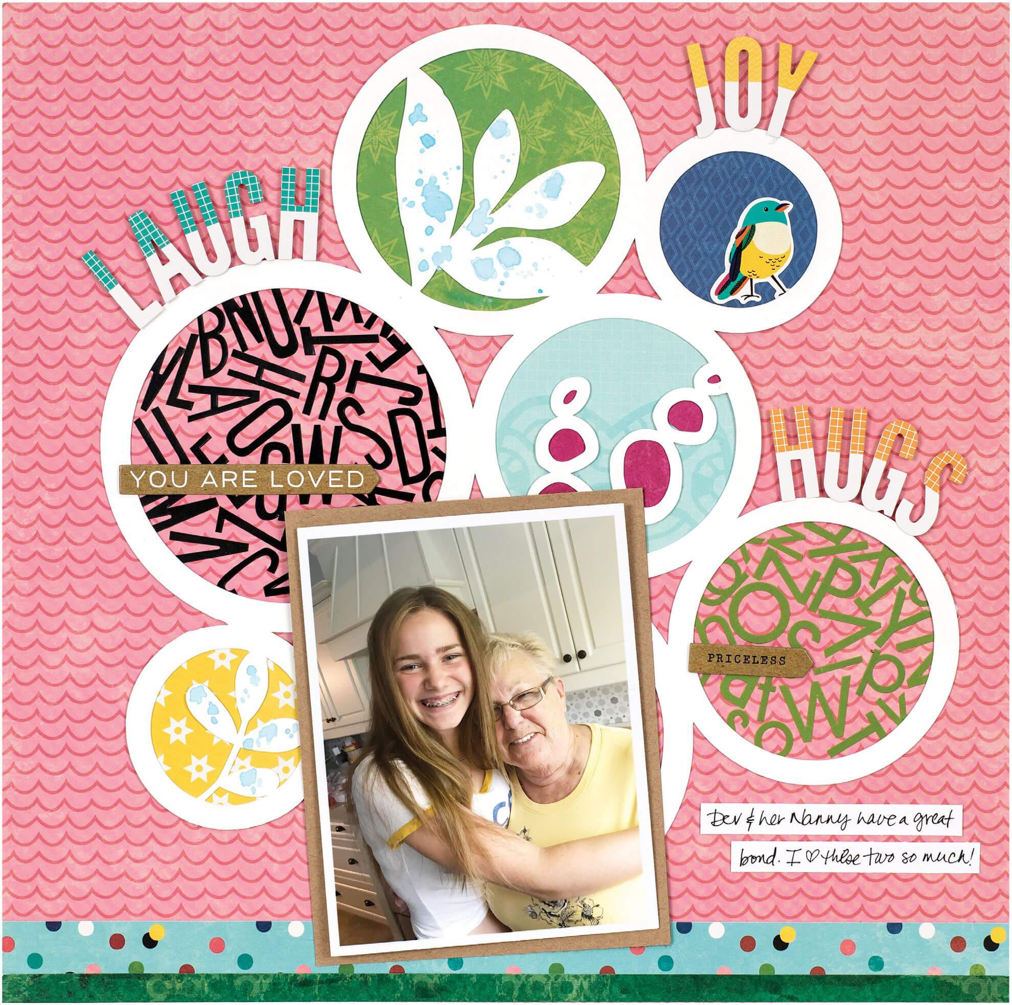 Scrapbook & Cards Today - Summer 2019 - Laugh Joy Hugs layout by Vicki Boutin