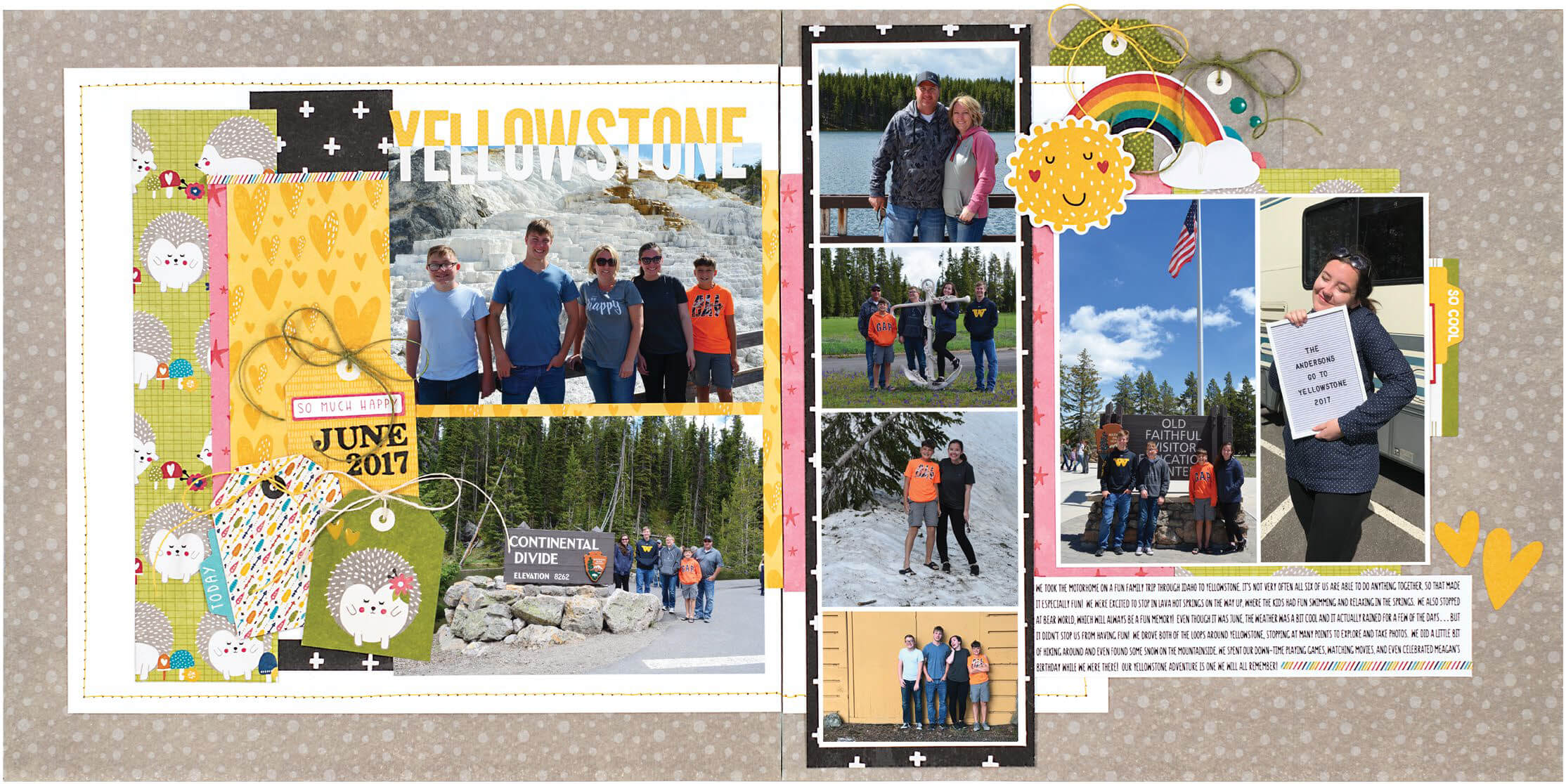 Scrapbook & Cards Today - Summer 2019 - Yellowstone layout by Wendy Sue Anderson