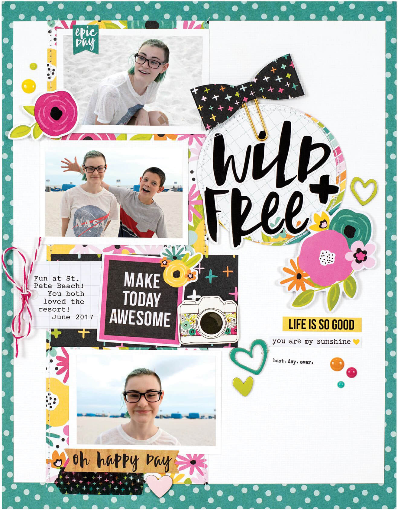 Scrapbook & Cards Today - Summer 2019 - Wild + Free layout by Jennifer Haggerty