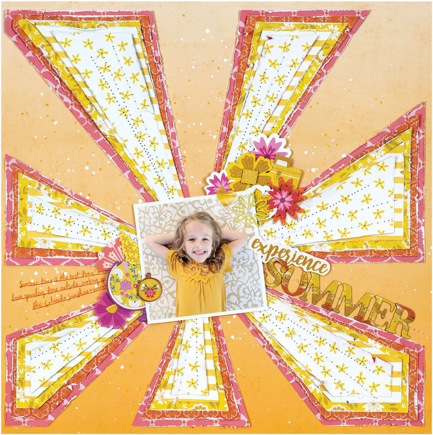 Scrapbook & Cards Today - Summer 2019 - Experience Summer layout by Paige Evans
