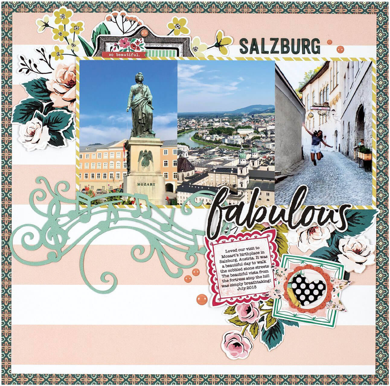 Scrapbook & Cards Today - Summer 2019 - Salzburg layout by Virginia Nebel