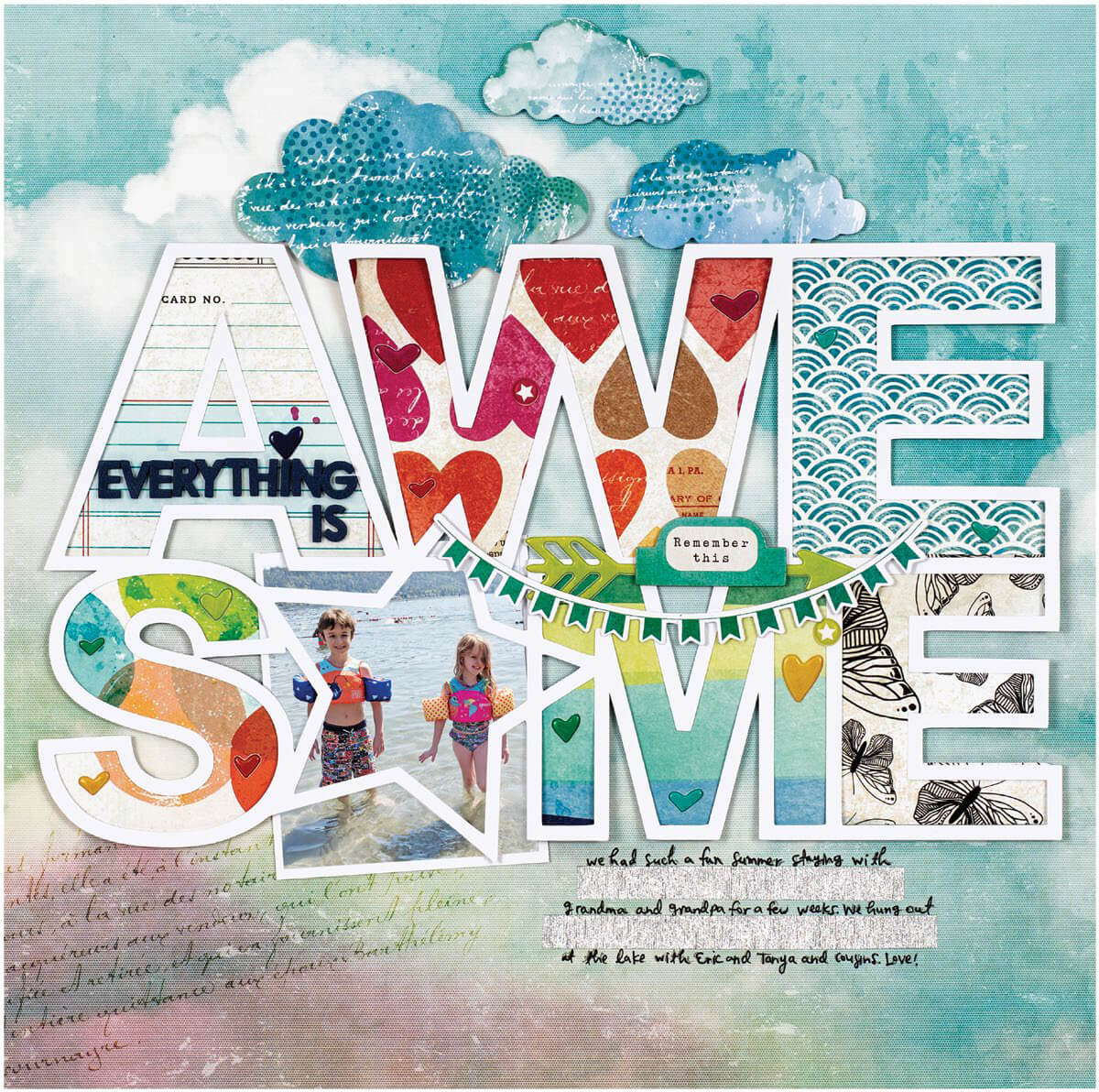 Scrapbook & Cards Today - Summer 2019 - Everything Is Awesome layout by Paige Evans