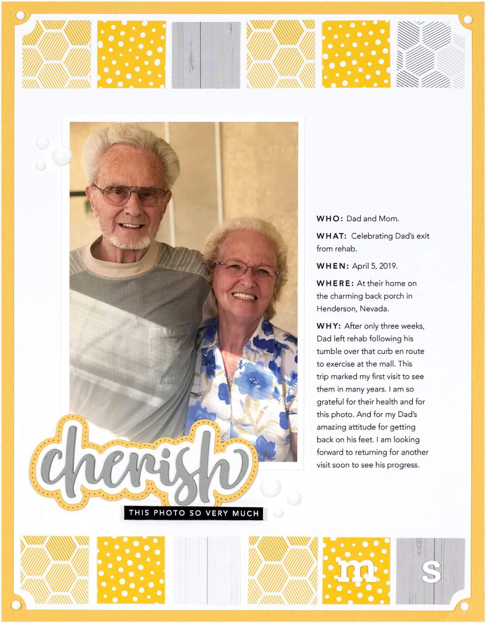 Scrapbook & Cards Today - Summer 2019 - Cherish layout by Cathy Zielske