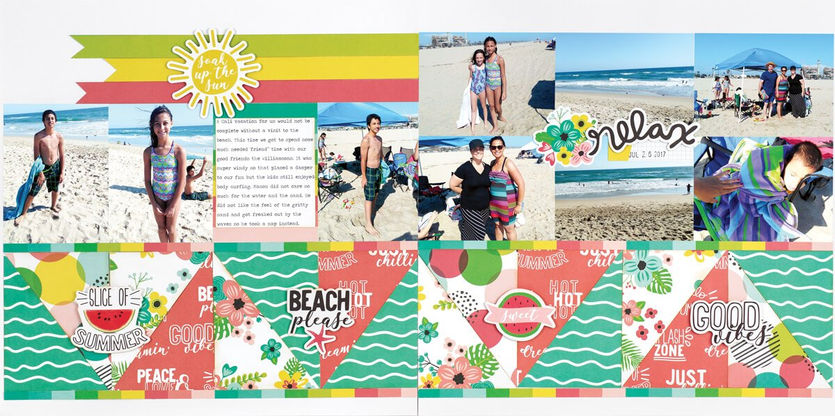 Scrapbook & Cards Today - Summer 2019 - Soak Up The Sun layout by Grace Tolman