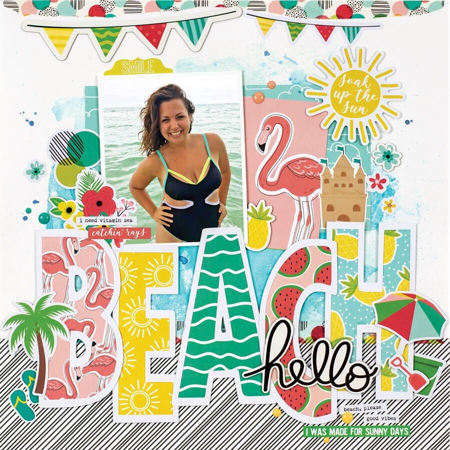 Scrapbook & Cards Today - Summer 2019 - Hello Beach layout by Marcia Dehn-Nix
