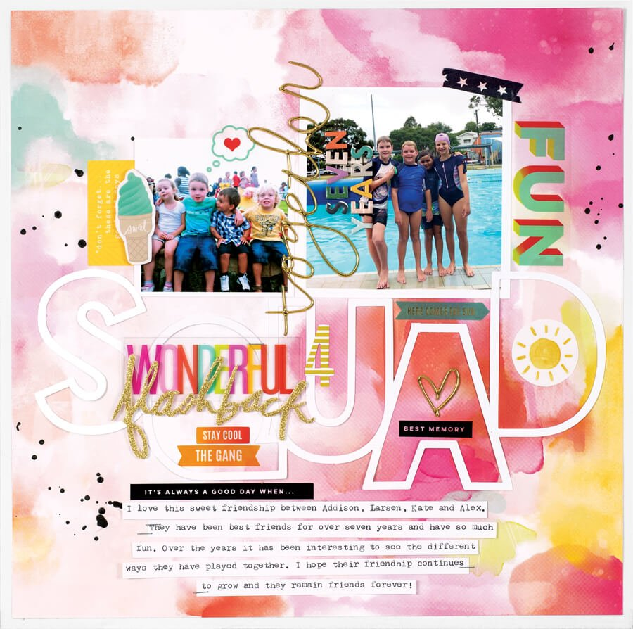 Scrapbook & Cards Today - Summer 2019 - Wonderful Squad Flashback layout by Kim Jeffries