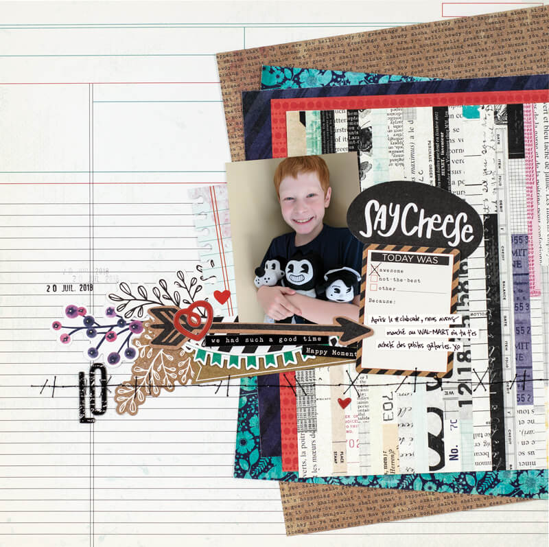Scrapbook & Cards Today - Summer 2019 - Say Cheese layout by Aurelie Cormier