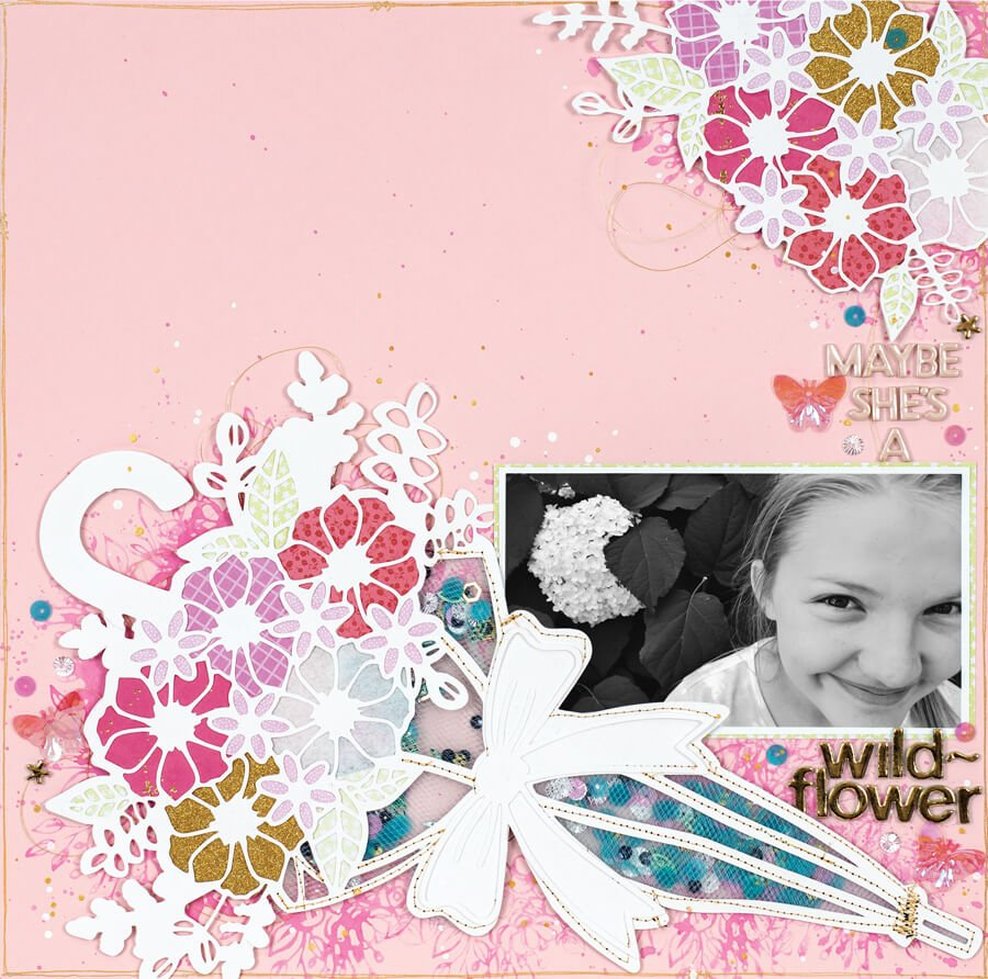 Scrapbook & Cards Today - Summer 2019 - Maybe She's A Wildflower layout by Daisie Hanson
