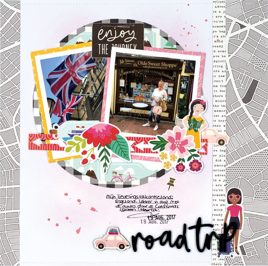 Scrapbook & Cards Today - Summer 2019 - Road Trip layout by Monique Liedtke
