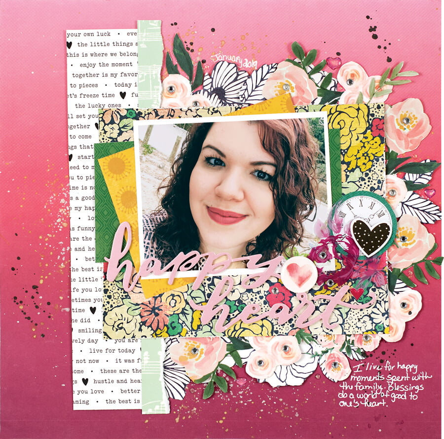 Scrapbook & Cards Today - Summer 2019 - Happy Heart layout by Lorimar Ortega