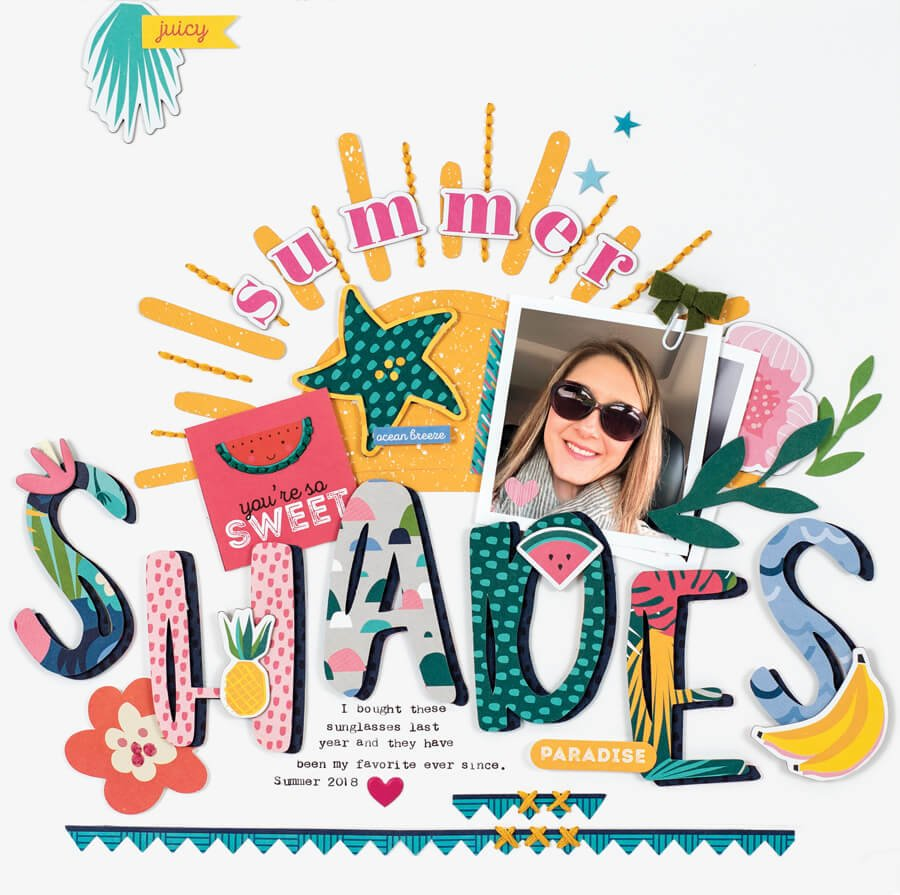 Scrapbook & Cards Today - Summer 2019 - Summer Shades layout by Tegan Skwiat