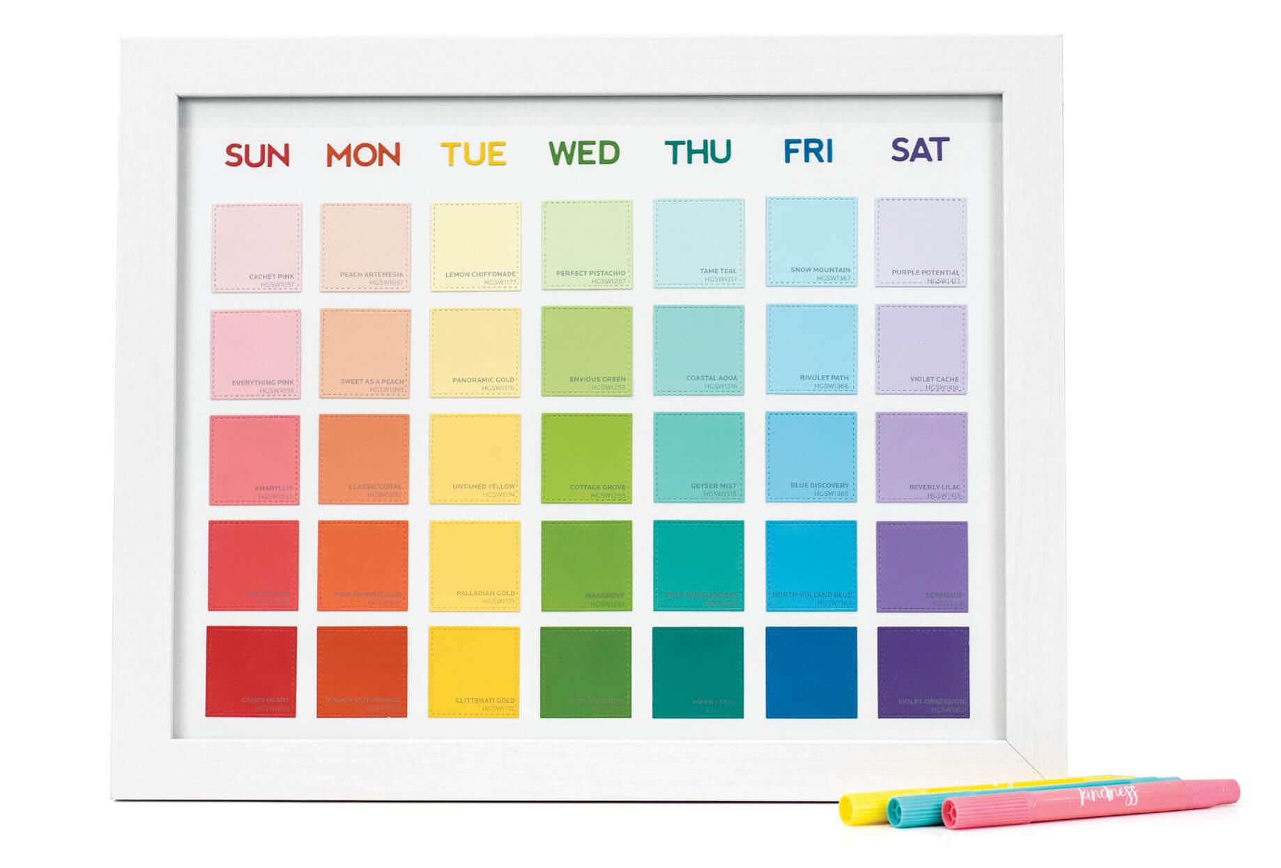 Scrapbook & Cards Today - Summer 2019 - Paint Swatch Rainbow Calendar by Stephanie Klauck