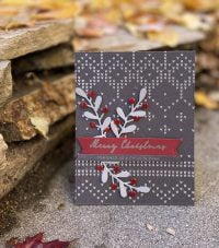 Scarlet and Grey Merry Christmas card by Susan R. Opel for Scrapbook & Cards Today