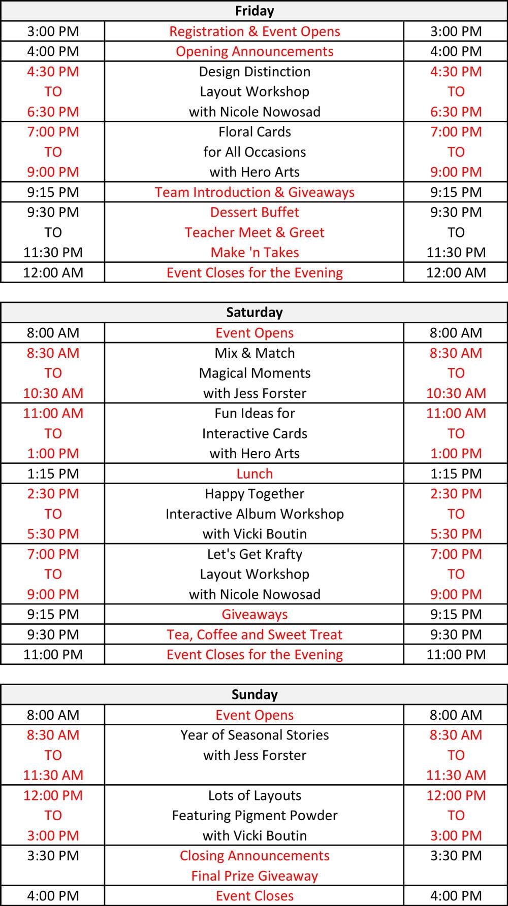 Crop & Create Moncton 2020 Schedule