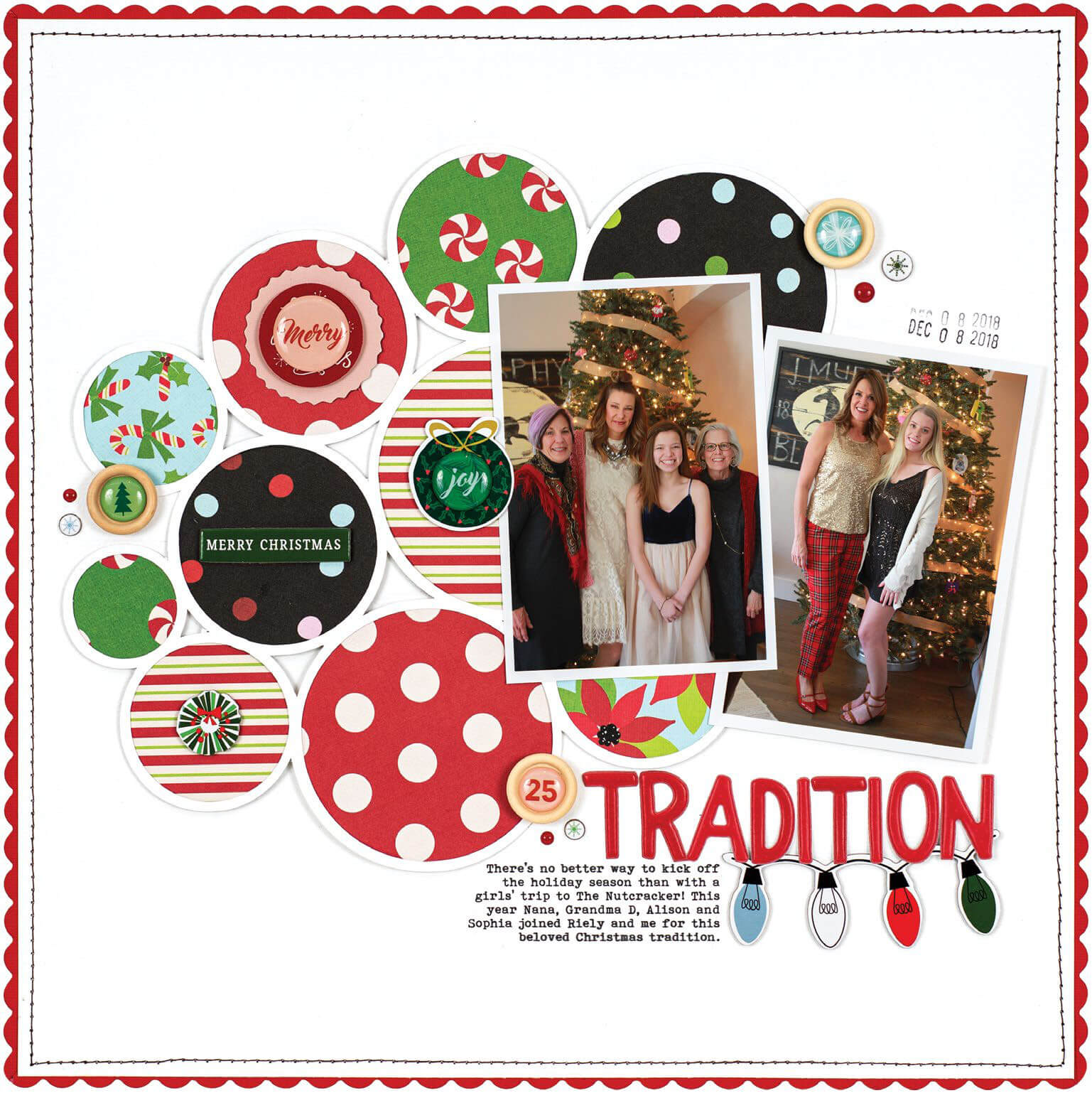 Scrapbook & Cards Today - Winter 2019 - Tradition layout by Lisa Dickinson