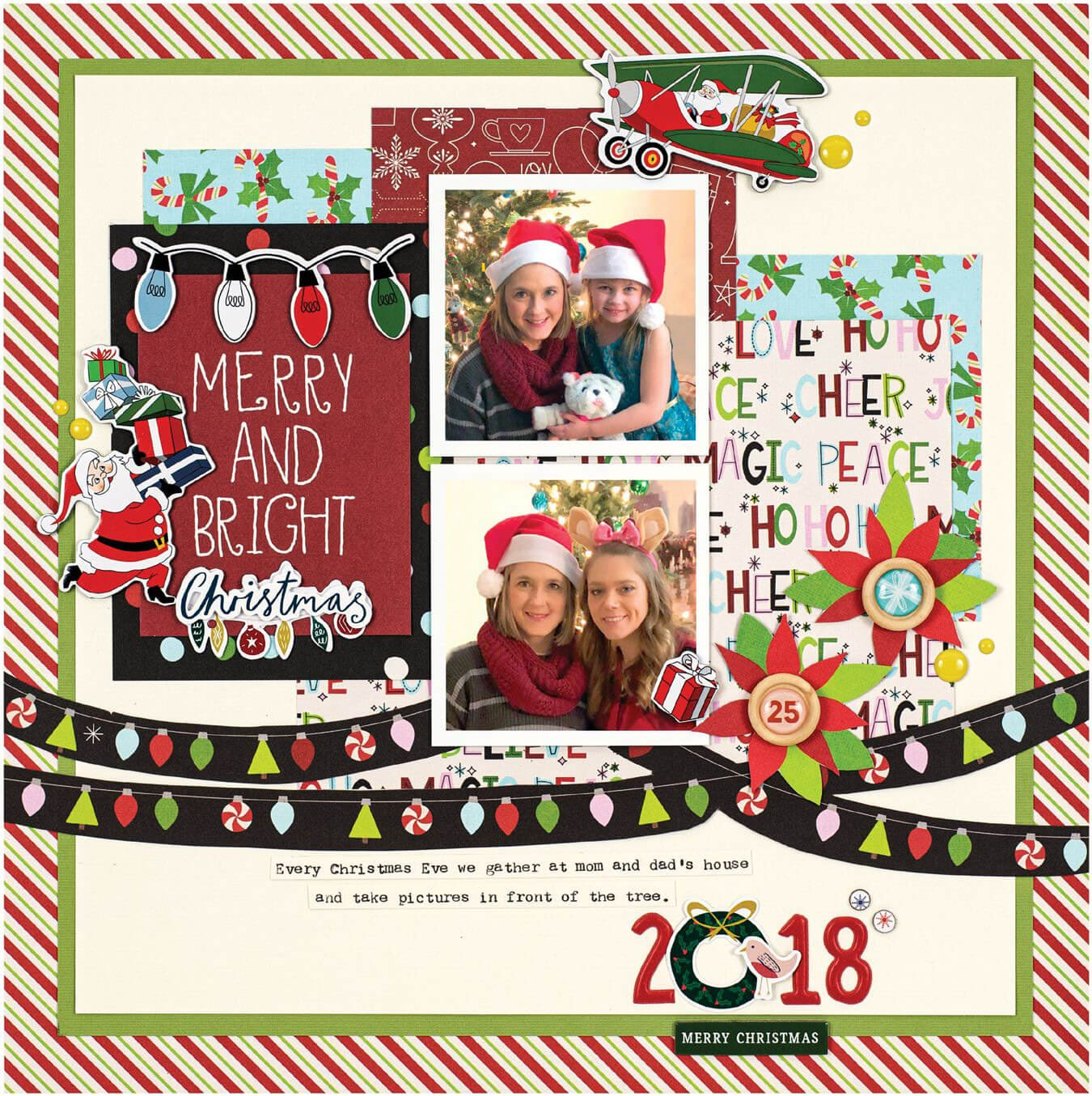Scrapbook & Cards Today - Winter 2019 - Merry and Bright Christmas layout by Tegan Skwiat