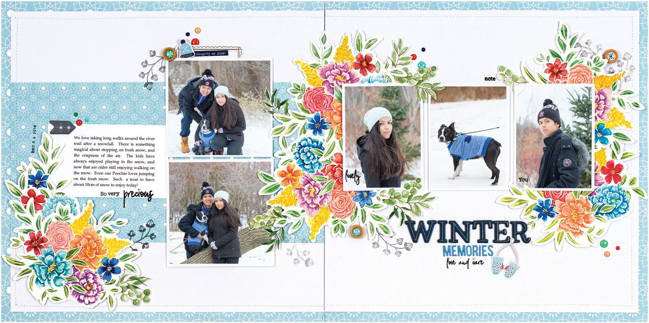 Scrapbook & Cards Today - Winter 2019 - Winter Memories layout by Nathalie DeSousa