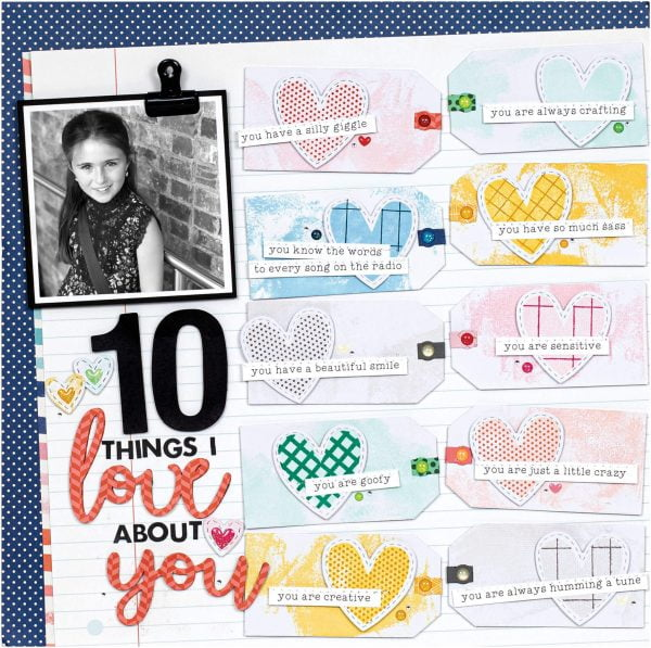 Scrapbook & Cards Today - Winter 2019 - 10 Things I Love About You layout by Cathy Zielske
